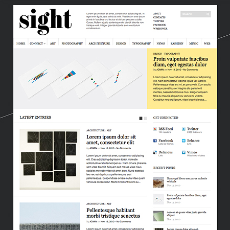 Sight: Free WordPress 3.0.1-Ready Theme For Magazines and Blogs