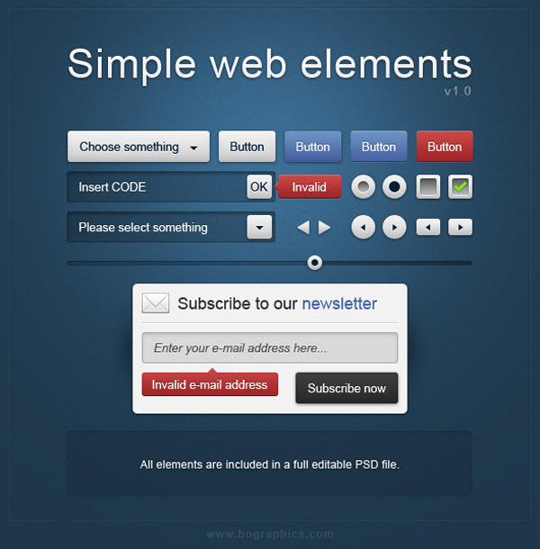 75+ Free PSD Web Elements