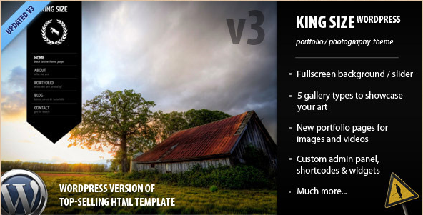 King Size - Fullscreen Background WordPress Photography Theme