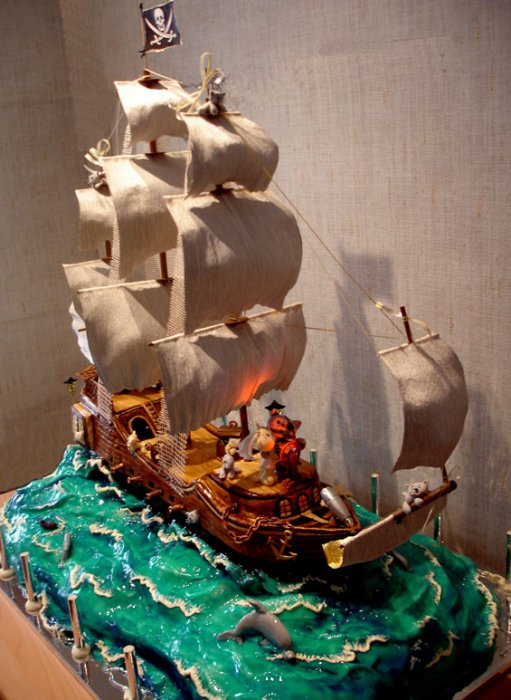 nautical wedding cake ship