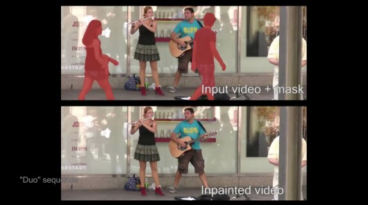 People in the foreground (marked in red) are removed from video footage of two musicians